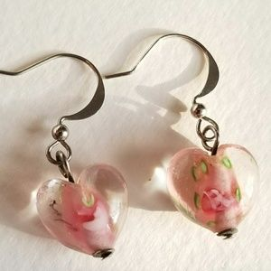 Vintage art glass heart earrings pink